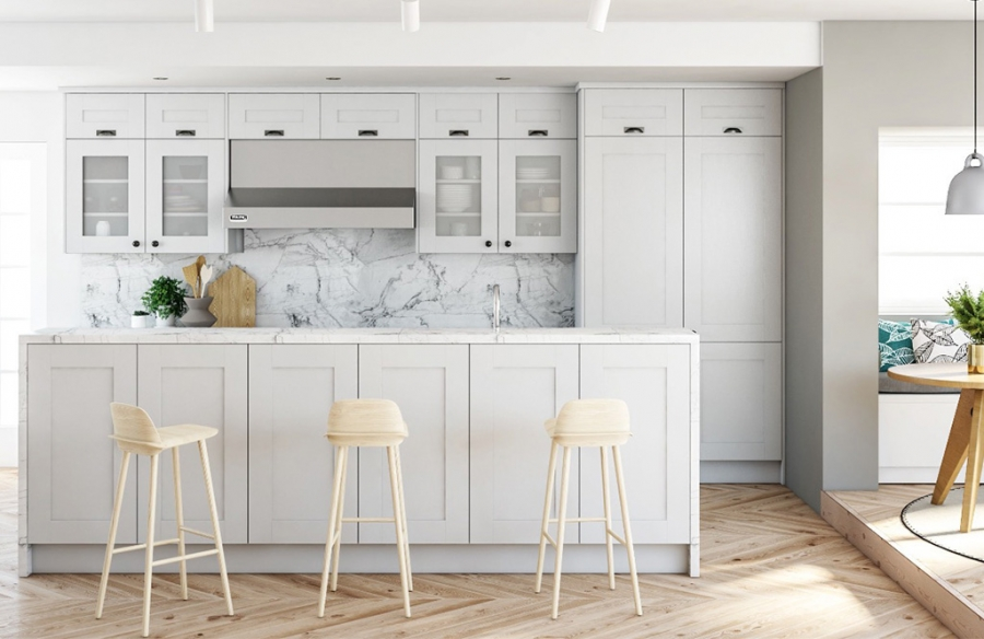 Light Grey Fitted Kitchen In Alderley The Panelling Centre